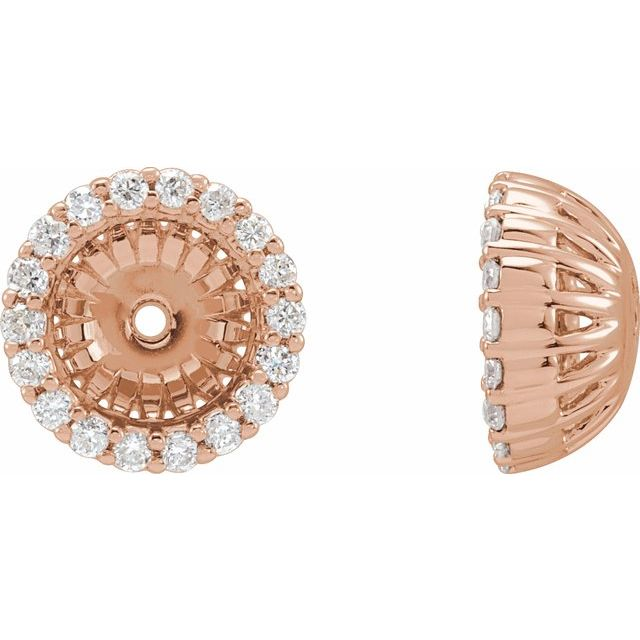 14K Rose 1/5 CTW Diamond Earring Jackets with 6.1 mm ID