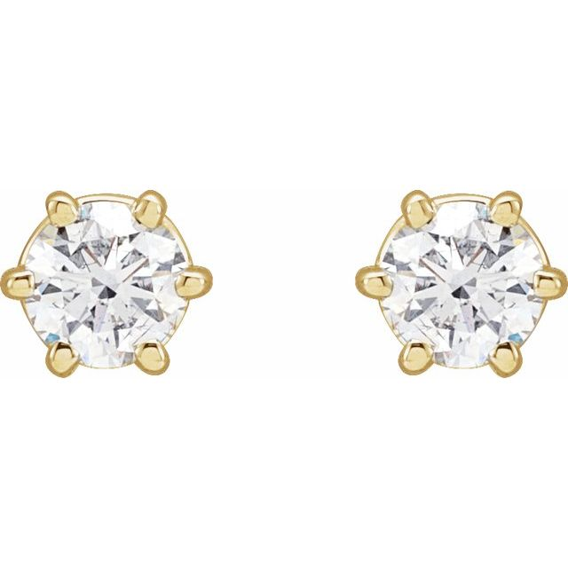 14K Yellow 1/2 CTW Diamond 6-Prong Stud Earrings
