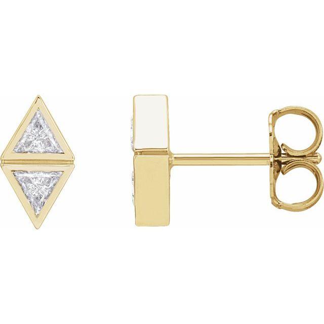 14K Yellow 1/4 CTW Diamond Two-Stone Bezel-Set Earrings