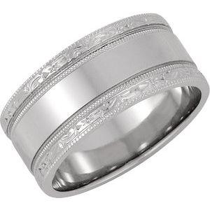 14K White 8.5 mm Design-Engraved Band Size 4