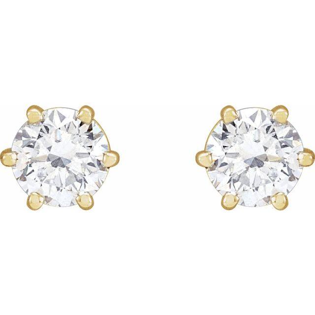 14K Yellow 1 CTW Diamond 6-Prong Stud Earrings