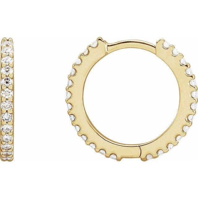 14K Yellow 1/2 CTW Diamond 16 mm Huggie Earrings