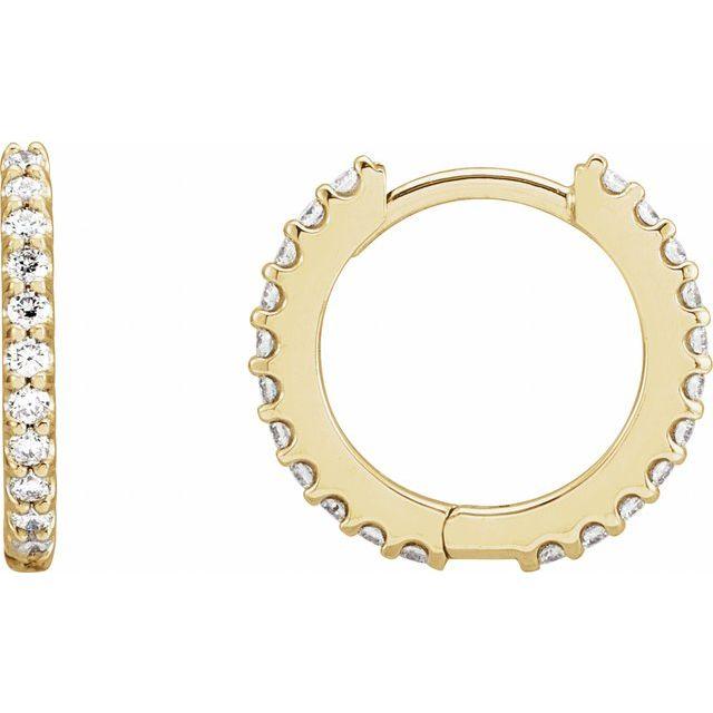14K Yellow 3/8 CTW Diamond 14 mm Huggie Earrings