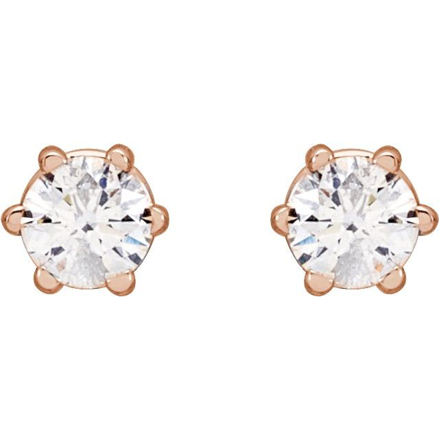 14K Rose 1/5 CTW Diamond 6-Prong Stud Earrings