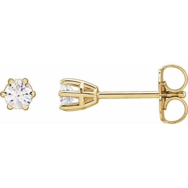14K Yellow 1/5 CTW Diamond 6-Prong Stud Earrings