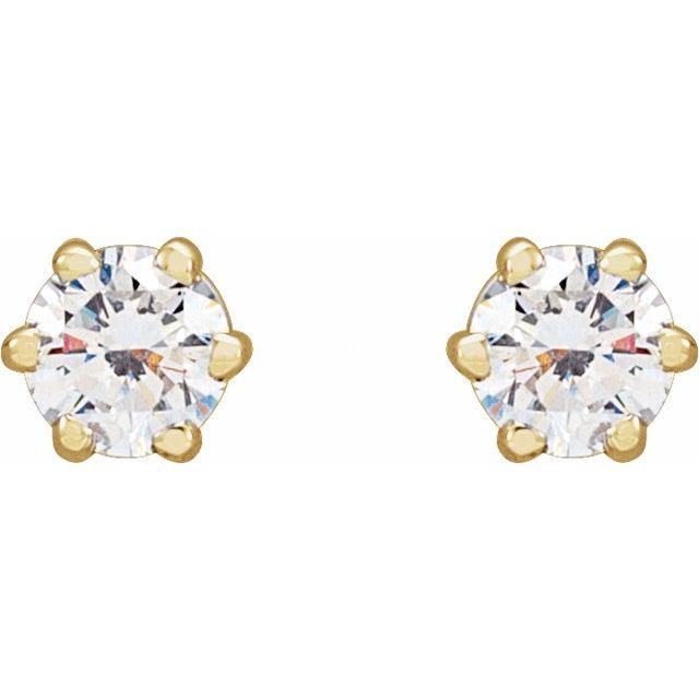 14K Yellow 1/4 CTW Diamond 6-Prong Stud Earrings