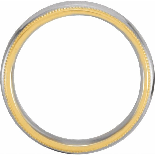 18K Yellow & Platinum 6 mm Grooved Band with Milgrain Size 12