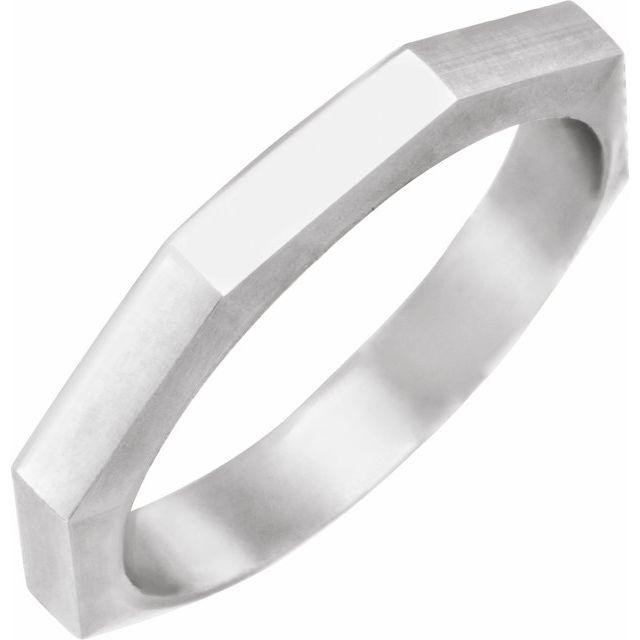 14K White 3 mm Geometric Octagon Band Size 7
