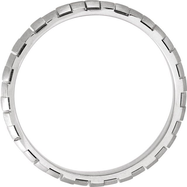14K White 5 mm Design Band with Satin Finish Size 8.5