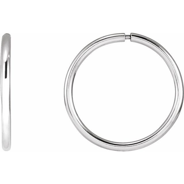 Sterling Silver 15 mm Endless Hoop Tube Earrings