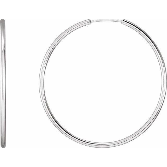 Sterling Silver 40 mm Endless Hoop Tube Earrings