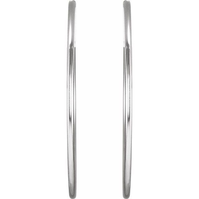 Sterling Silver 45 mm Endless Hoop Tube Earrings