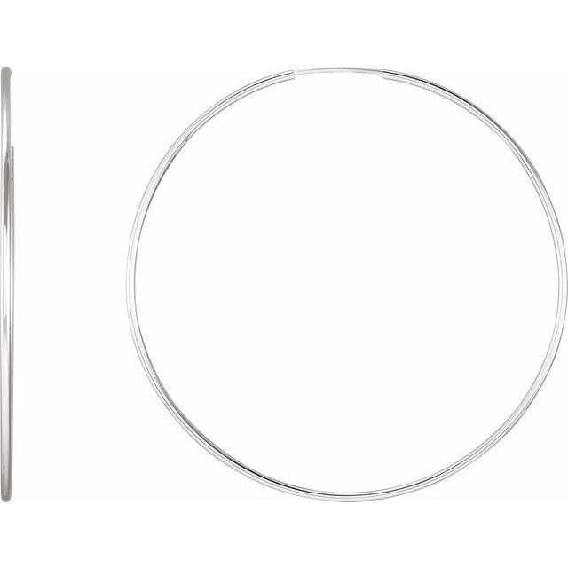 Sterling Silver 51 mm Endless Hoop Tube Earrings