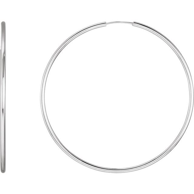 Sterling Silver 53 mm Endless Hoop Tube Earrings