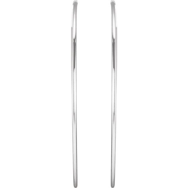 Sterling Silver 75 mm Endless Hoop Tube Earrings