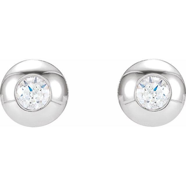 14K White 1/8 CTW Diamond Domed Bezel-Set Earrings