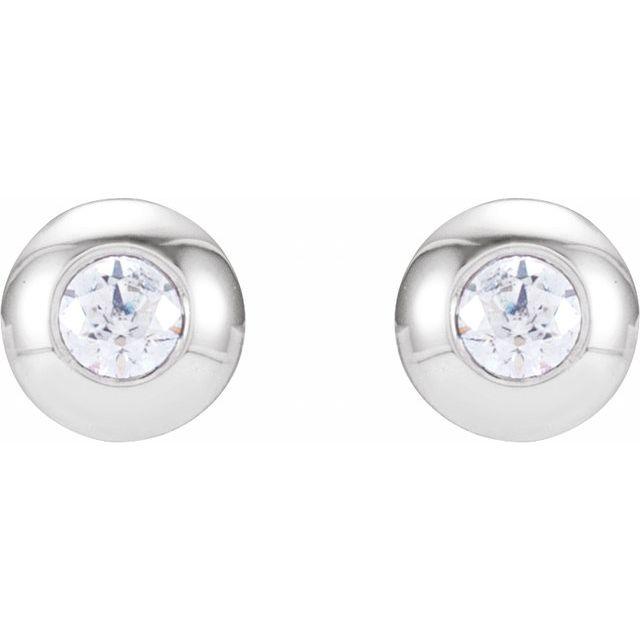 14K White .06 CTW Diamond Domed Bezel-Set Earrings