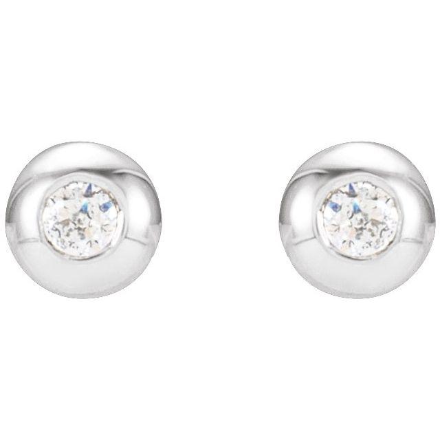 14K White .03 CTW Diamond Domed Bezel-Set Earrings