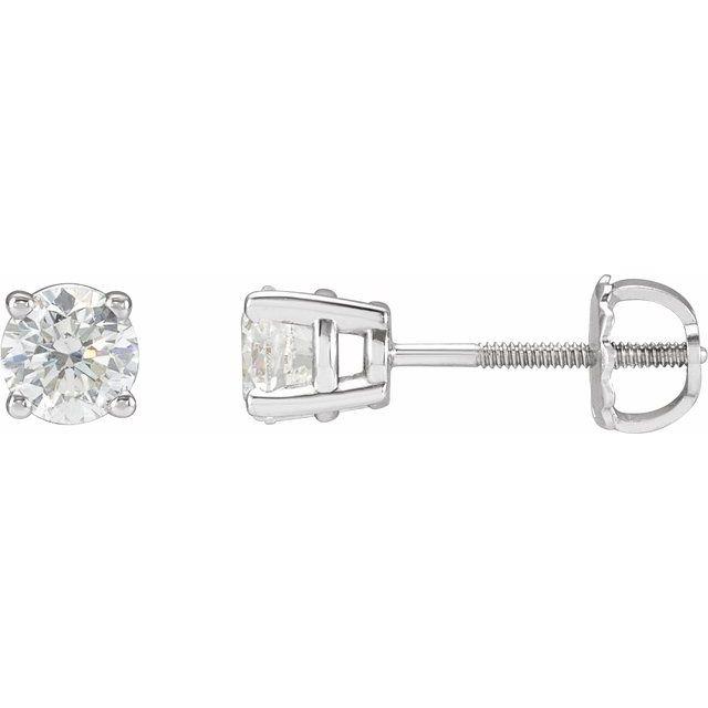 14K White 1 CTW Diamond Stud Earrings
