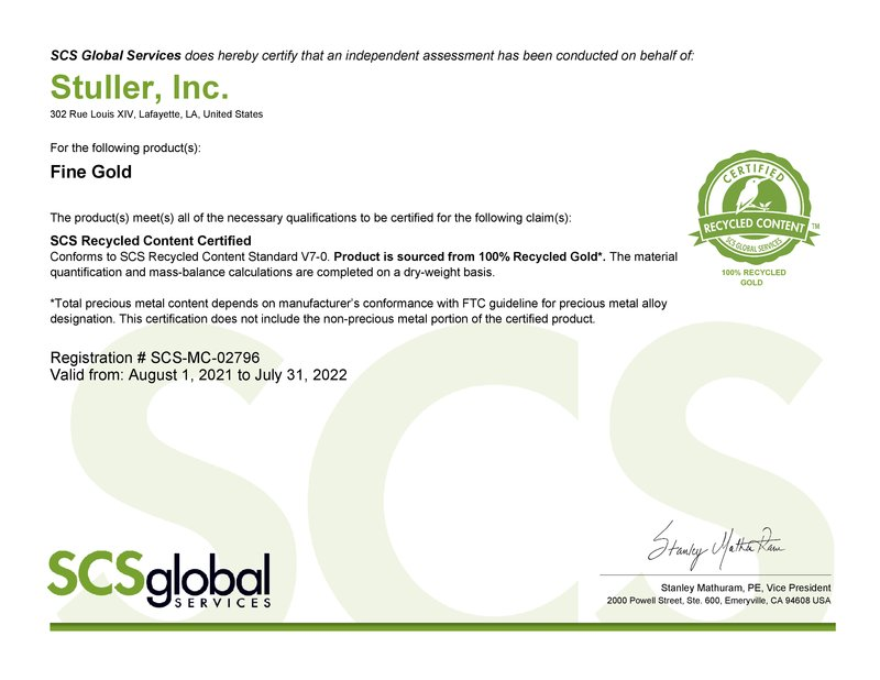 SCS Gold Certificate
