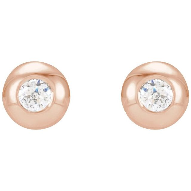 14K Rose .03 CTW Diamond Domed Bezel-Set Earrings