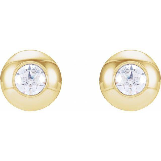 14K Yellow .06 CTW Diamond Domed Bezel-Set Earrings