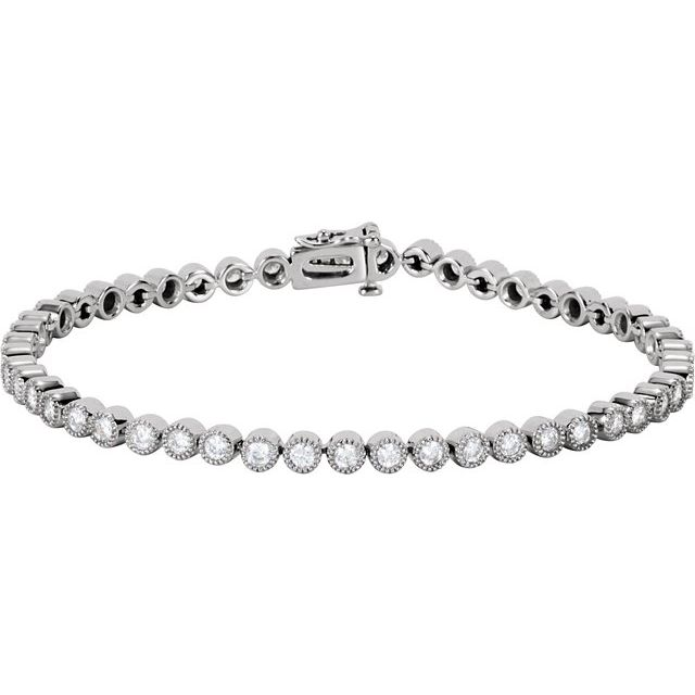 "14K White 2 CTW Diamond Line 7.25"" Bracelet"