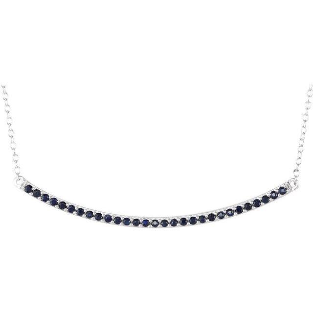 14K White Blue Sapphire Bar 16-18