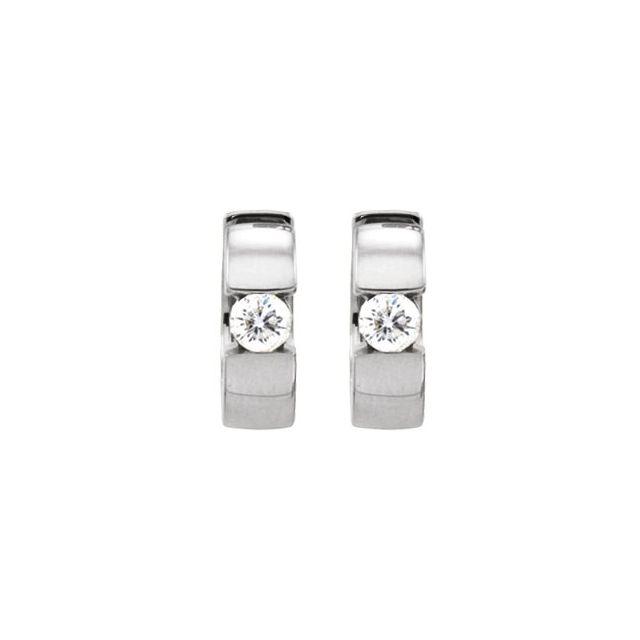 14K White 1/2 CTW Diamond Hinged Earrings
