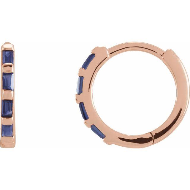 14K Rose Blue Sapphire Huggie Earrings