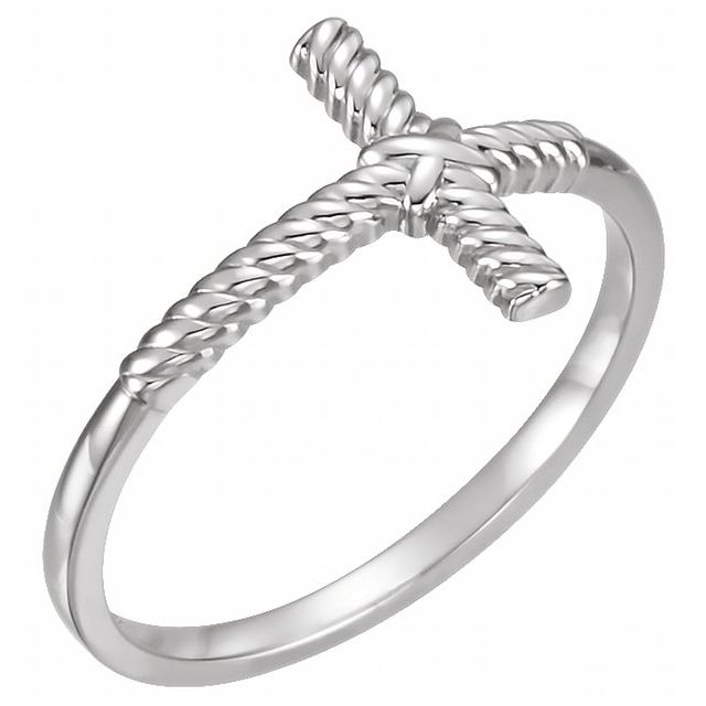 Continuum Sterling Silver Rope Sideways Cross Ring