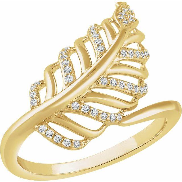 14K Yellow 1/5 CTW Diamond Leaf Ring