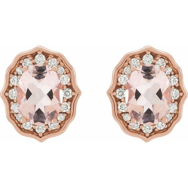 14K Rose Peach Morganite & 1/3 CTW Diamond Earrings