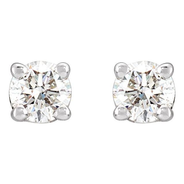14K White 1/3 CTW Diamond Stud Earrings