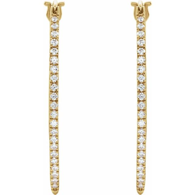 14K Yellow 1/2 CTW Natural Diamond Hoop Earrings