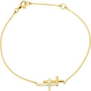 "14K Yellow 1/5 CTW Diamond Double Sideways Cross 8"" Bracelet"