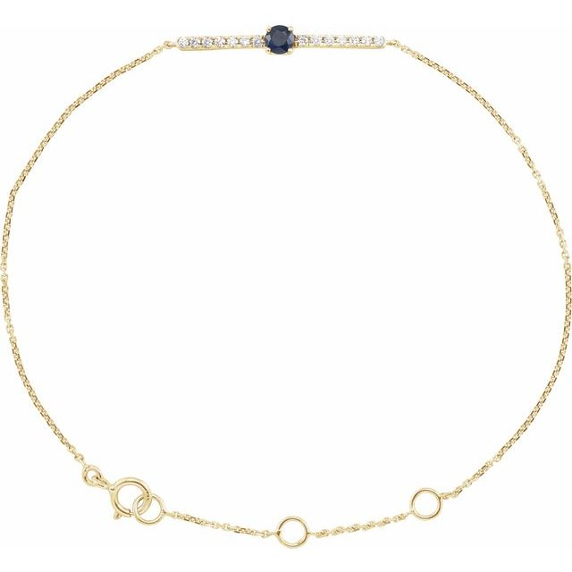 14K Yellow Blue Sapphire & .07 CTW Diamond Bar 5-7