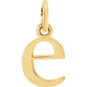 14K Yellow Lowercase Initial E Pendant