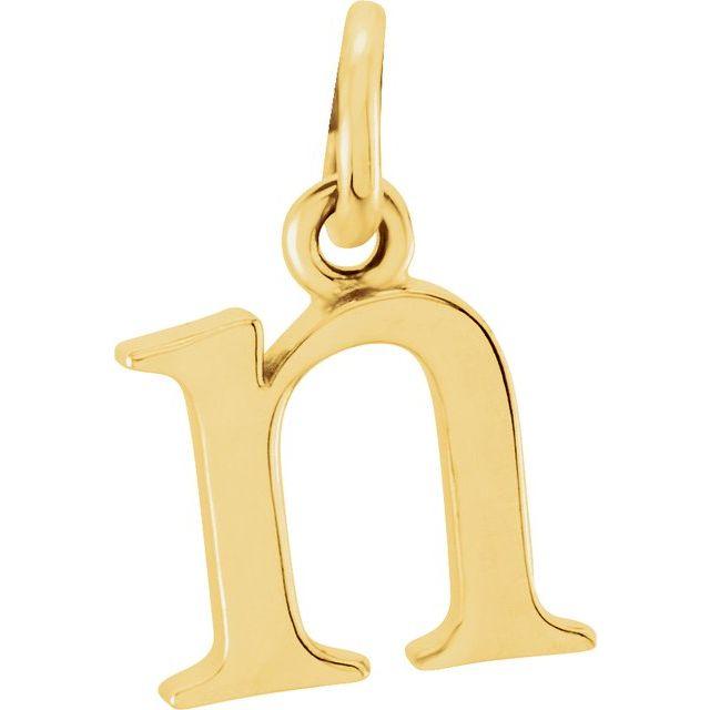 14K Yellow Lowercase Initial N Pendant