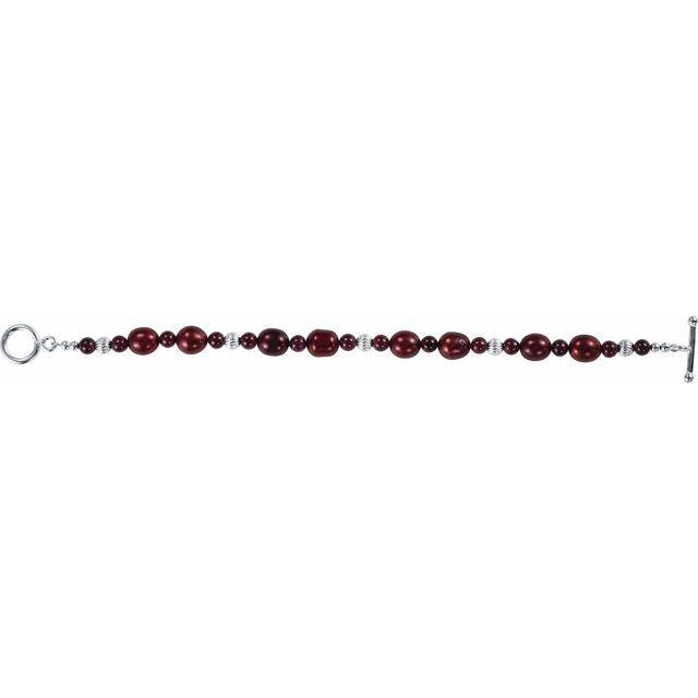 Sterling Silver Red Freshwater Cultured Pearl & Rhodolite Garnet 7 1/2