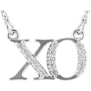 """14K White .07 CTW Diamond """"XO""""  16 1/2"""" Necklace"""