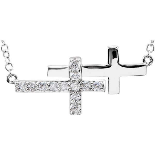 "Sterling Silver Cubic Zirconia Double Sideways Cross 18""  Necklace"
