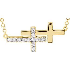 "14K Yellow 1/5 CTW Diamond Double Sideways Cross 18"" Necklace"