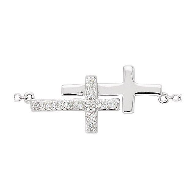 Sterling Silver Imitation Cubic Zirconia Double Sideways Cross 8