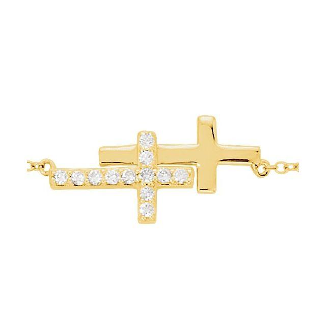 14K Yellow 1/5 CTW Natural Diamond Double Sideways Cross 8