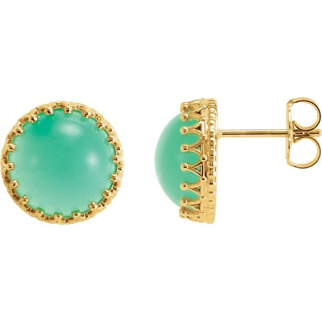 14K Yellow 10 mm Round Natural Blue Chrysoprase Earrings